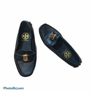 Tory Burch Kira Leather Driving Loafers Black Gold